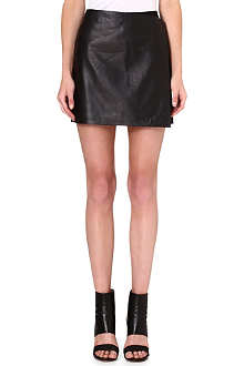 THEORY Contrast leather skirt