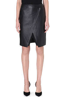 THEORY Easeful leather and jersey skirt