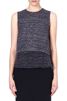 THEORY Hodal tweed-print silk top