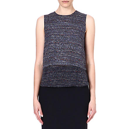 THEORY Hodal tweed-print silk top (Multi