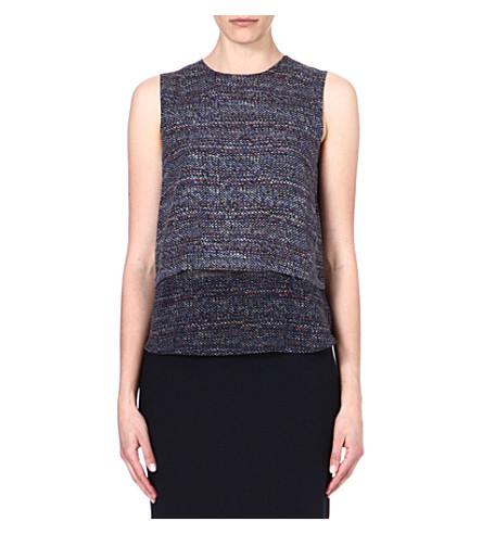 THEORY Hodal tweed-print silk top (Multi