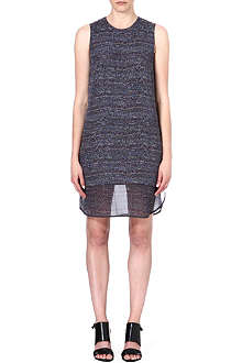 THEORY Hassil tweed-print silk dress