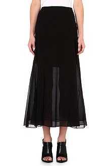 THEORY Silk-blend midi skirt