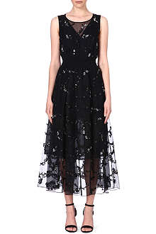 THEORY Darro embroidered silk dress