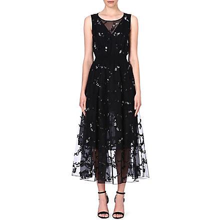 THEORY Darro embroidered silk dress (Black