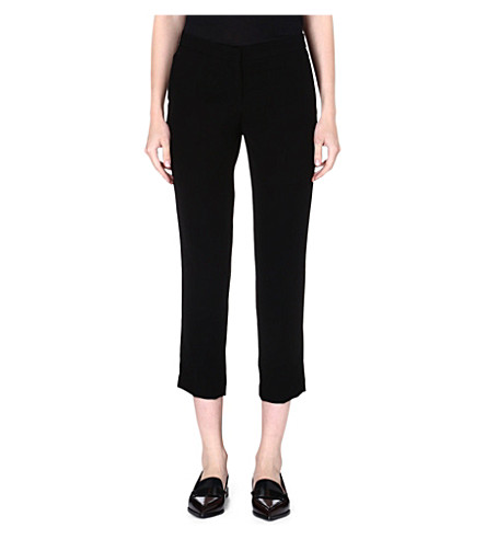 THEORY Kuril cropped crepe trousers (Black