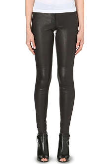 THEORY High-shine leather leggings