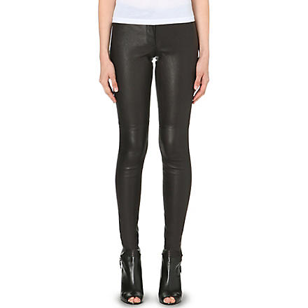 THEORY High-shine leather leggings (Black