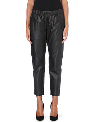 THEORY Korene tapered leather trousers