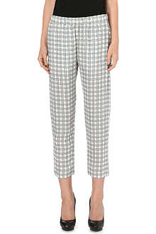 THEORY Korene check-print silk trousers