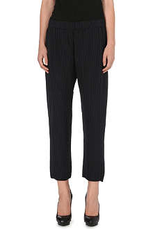 THEORY Korene silk-blend pinstripe trousers
