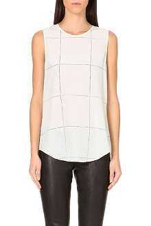 THEORY Bringam checked silk top