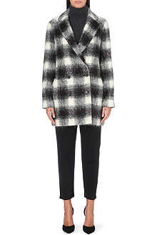 THEORY Brisk checked wool-blend coat