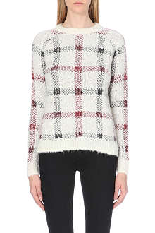 THEORY Loryelle Innis checked wool-blend jumper