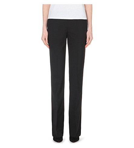 THEORY Max straight-leg stretch-wool trousers (Black