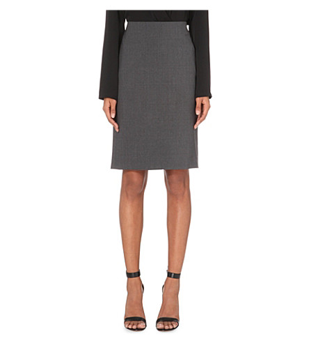 THEORY Stretch-wool pencil skirt (Charcoal