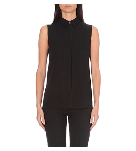 THEORY Tanelis sleeveless silk shirt (Black