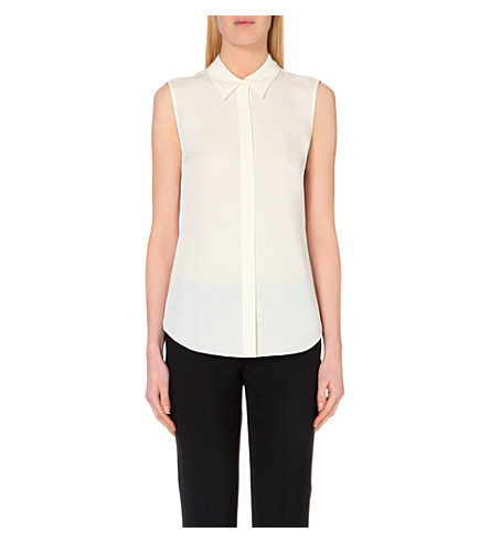 THEORY Tanelis sleeveless silk shirt (Ivory