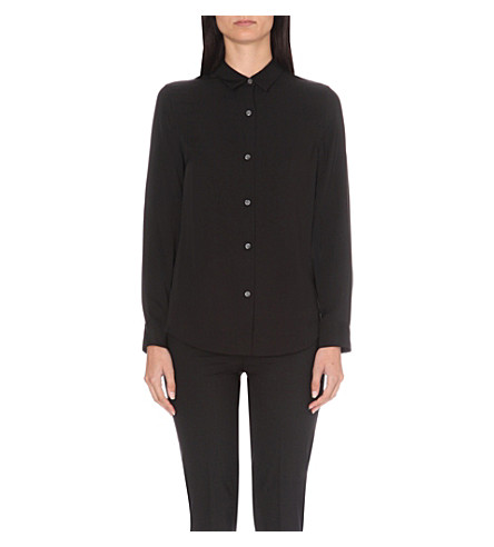 THEORY Tenia classic silk shirt (Black