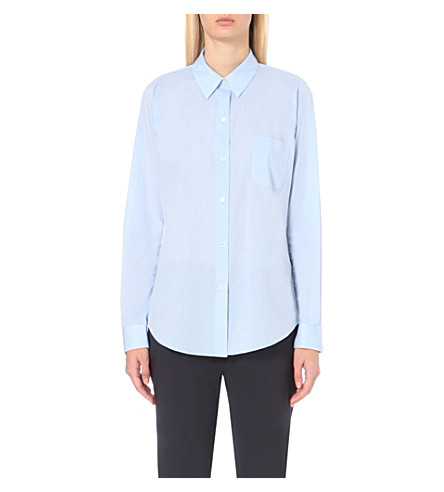 THEORY Perfect cotton shirt (Light+blue