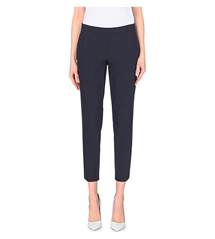THEORY Slim-fit cotton-blend trousers (Lt navy