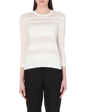 THEORY Rainee sheer-panel knitted jumper