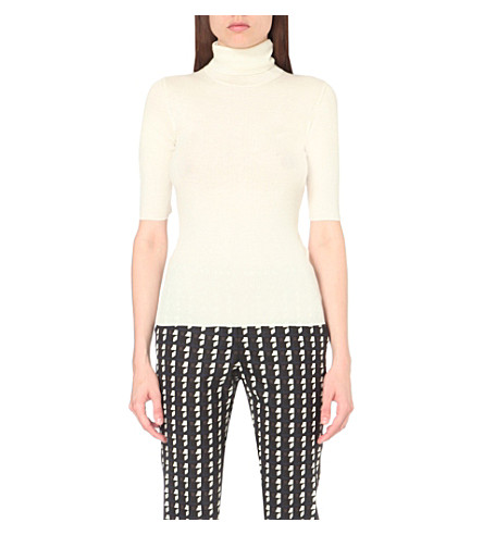 THEORY Lennda turtleneck merino wool top (Ivory