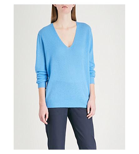 THEORY Adrianna V-neck cashmere jumper (Bermuda+blue