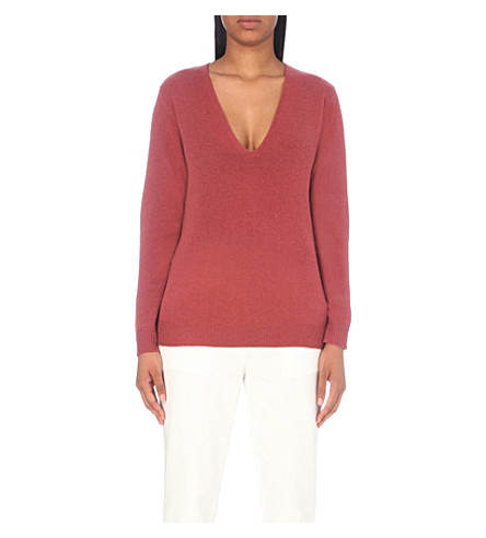 THEORY Adrianna v-neck cashmere jumper (Berry