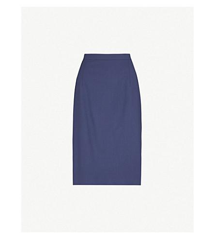 THEORY Hemdall stretch-wool pencil skirt (Sea+blue