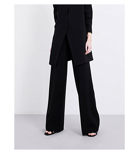 THEORY Simmone Admiral Crepe Wide-Leg Pants, Black