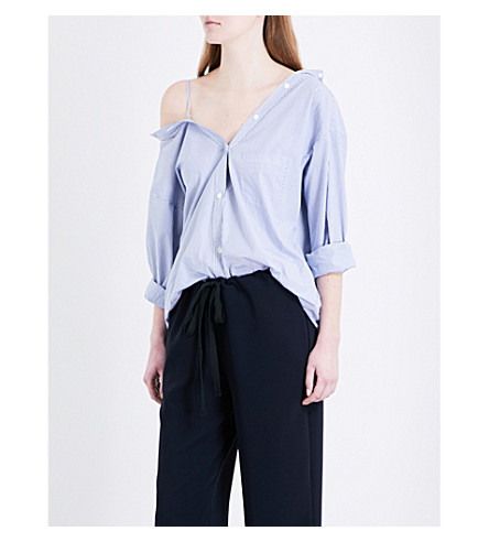 THEORY Tamalee pinstriped cotton-poplin shirt (Blue/white+stripe