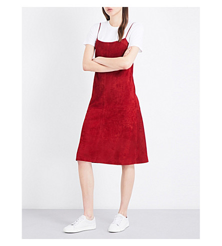 THEORY Telson suede A-line dress (Dark+crimson