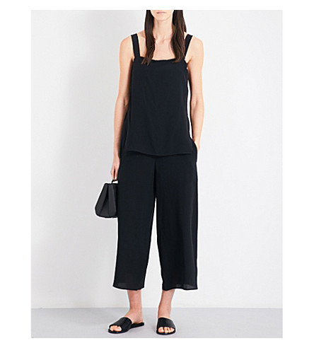 THEORY Dinnlean Mosaic wide-leg cropped silk-crepe jumpsuit (Black