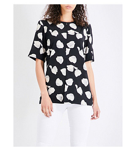 THEORY Edgara Harper silk-crepe top (Black+ivory