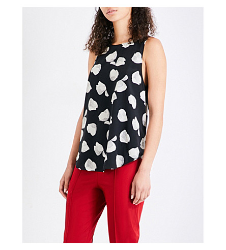 THEORY Zabetha harper silk-crepe top (Black+ivory