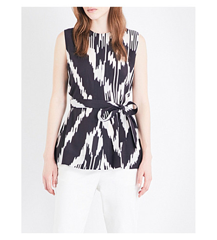 THEORY Desza belted silk top (Multi