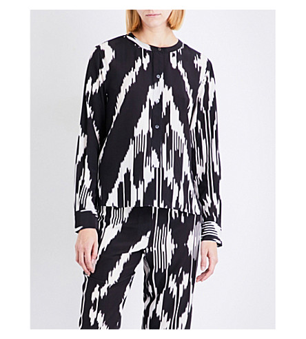 THEORY Isalva Ikat-print silk blouse (Multi