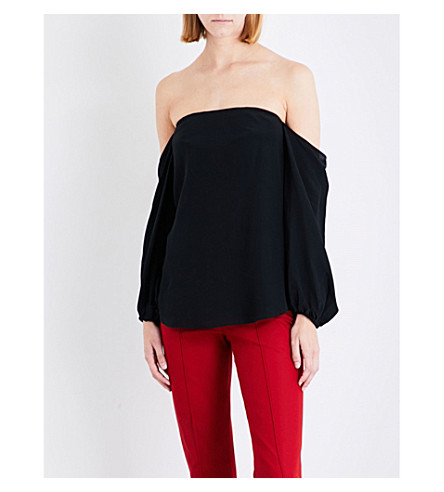 THEORY Laureema off-the-shoulder silk-blend top (Black
