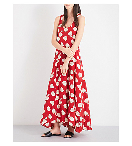 THEORY Palushaj Harper-print silk-crepe dress (Crimson+red+ivory