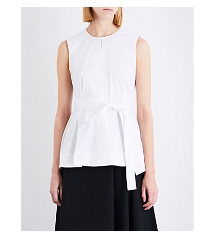 THEORY Desza belted stretch-cotton top (White