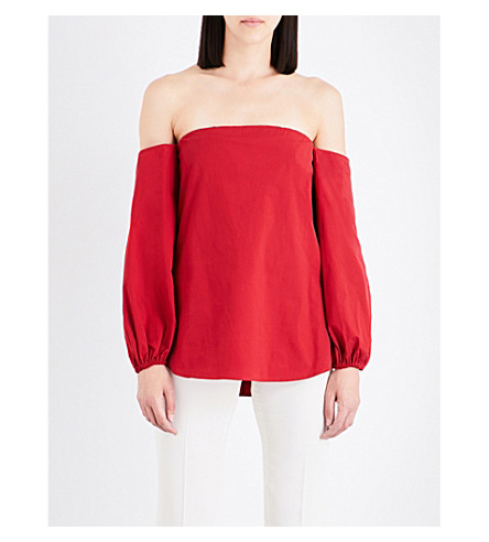 THEORY Laureema off-the-shoulder stretch-cotton top (Crimson+red