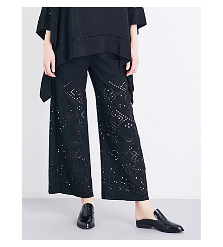THEORY Alkes Ghost embroidered cutout-detail crepe pants (Black