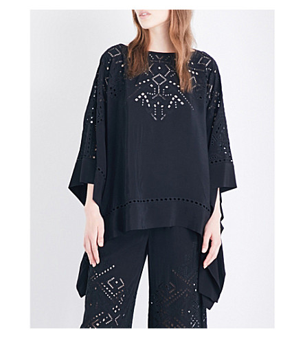 THEORY Alija embroidered cutout-detail crepe top (Black