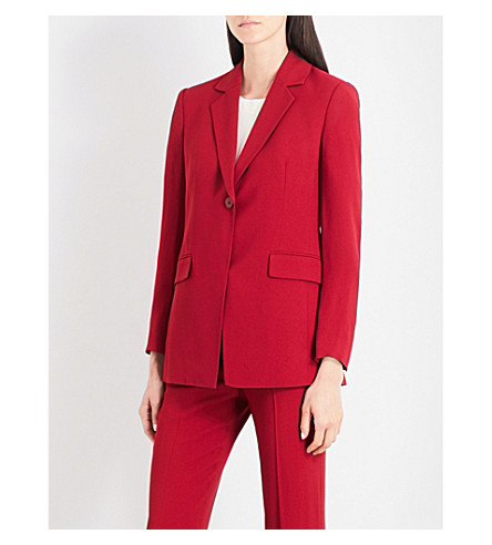 THEORY Sylvaine Rosina notch-lapel crepe jacket (Crimson+red