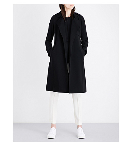 THEORY Oaklane single-breasted crepe coat (Black