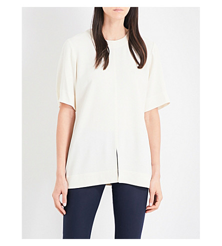 THEORY Edgara Rosina split-front crepe top (Ivory
