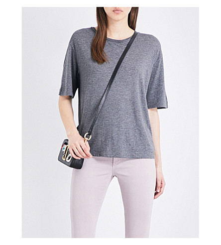 THEORY Eligia cotton-blend T-shirt (Heather+grey