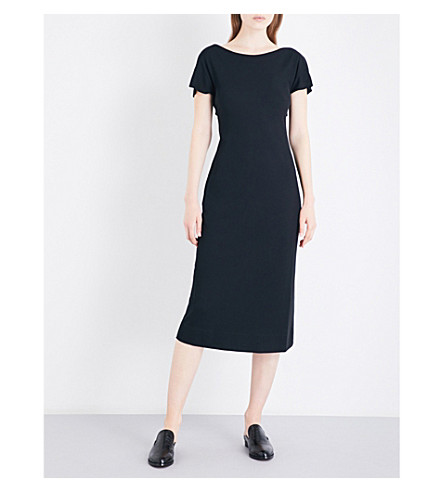 THEORY Andrizza knotted-detail cotton dress (Black