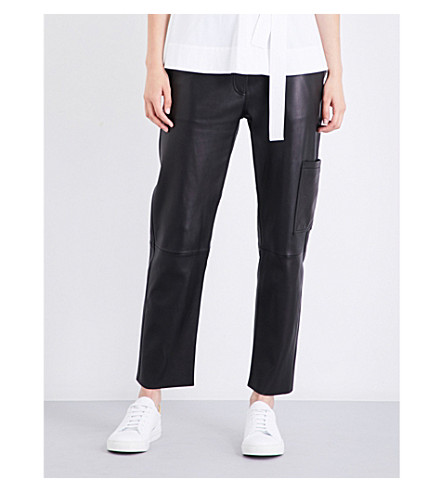 THEORY Thorelle cropped leather trousers (Black